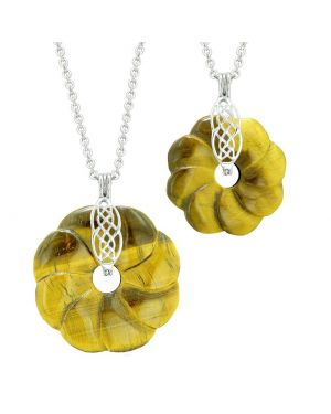 Yin Yang Celtic Shield Knot Large Small Flower Amulets Couples Best Friends Tiger Eye Necklaces