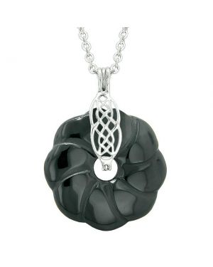 Celtic Shield Knot Protection Magic Powers Amulet Black Agate Lucky Flower Donut Pendant Necklace