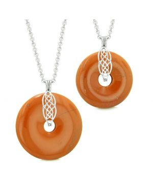 Yin Yang Celtic Shield Knot Large Small Amulets Love Couples or Best Friends Red Jasper Necklaces