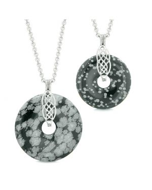 Yin Yang Celtic Shield Knot Large Small Amulets Couples Best Friend Snowflake Obsidian Necklaces