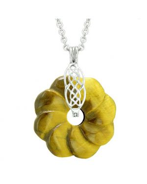Celtic Shield Knot Protection Magic Powers Amulet Tiger Eye Lucky Flower Donut Pendant Necklace