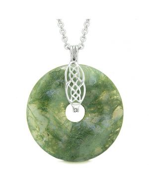 Large Celtic Shield Knot Protection Powers Amulet Green Moss Agate Lucky Donut Pendant Necklace