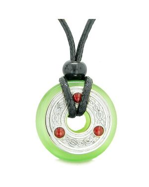 Amulet Celtic Triquetra Knot Lucky Coin Donut Charm Green Cats Eye Protection Pendant Necklace
