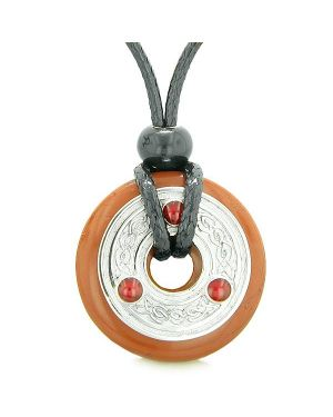 Amulet Celtic Triquetra Knot Lucky Coin Donut Charm Red Jasper Magic ProtectiPendant Necklace