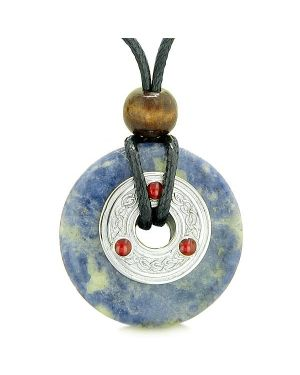 Large Celtic Triquetra Knot Amulet Lucky Coin Donut Charm Sodalite Magic Pendant Necklace