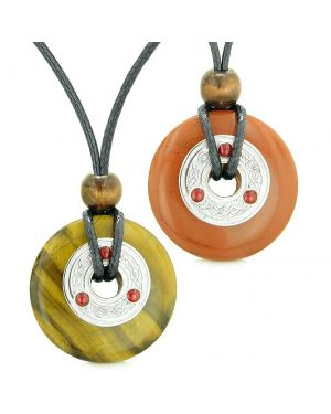 Amulets Large Celtic Triquetra Knot Coins Love Couples Yin Yang Tiger Eye Red Jasper Necklaces