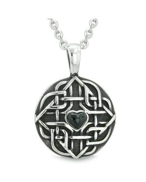 "Amulet Celtic Shield Knot Magic Heart and Protection Powers Simulated Onyx Pendant 18"" Necklace"