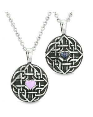 Amulets Couples Best Friends Celtic Knot Heart Purple Simulated Cats Eye Blue Goldstone Necklaces