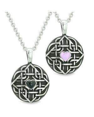Amulets Couples Best Friends Celtic Knot Heart Purple Simulated Cats Eye Simulated Onyx Necklaces