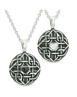 Amulets Love Couple Best Friends Celtic Shield Knot Heart Simulated Onyx White Cats Eye Necklaces
