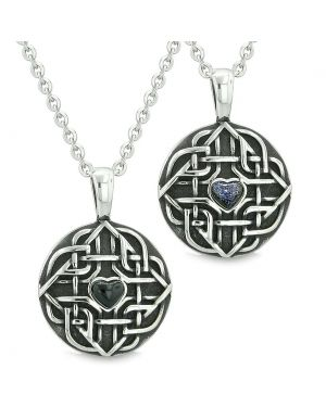 Amulets Love Couple Best Friends Celtic Shield Knot Heart Simulated Onyx Blue Goldstone Necklaces
