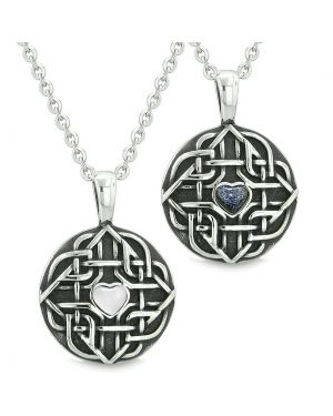 Amulets Love Couple Best Friends Celtic Shield Knot Heart White Cats Eye Blue Goldstone Necklaces