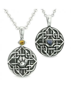 Amulets Love Couple or Best Friends Celtic Shield Wolf Paw Heart Tiger Eye Blue Goldstone Necklaces