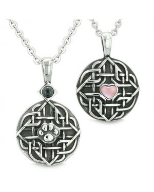 Amulets Couples Best Friends Celtic Shield Wolf Paw Heart Simulated Onyx Pink Cats Eye Necklaces