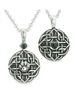 Amulets Love Couple Best Friends Celtic Shield Wolf Paw Heart Simulated Onyx Crystals Necklaces