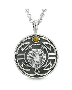 Amulet Courage Wisdom Wolf Ancient Viking Celtic Knot Tiger Eye Protection Powers Necklace