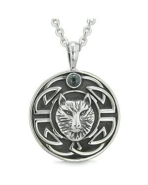 Amulet Courage Wisdom Wolf Ancient Viking Celtic Knot Simulated Black Onyx Protection Necklace