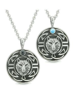 Amulets Love Couple or Best Friends Celtic Viking Wolf Simulated Onyx Simulated Turquoise Necklaces