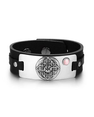 Wolf Paw Celtic Shield Knot Magic Amulet Pink Simulated Cats Eye Adjustable Black Leather Bracelet