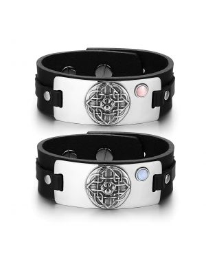 Wolf Paw Celtic Shield Knot Love Couples Pink Sky Blue Simulated Cats Eye Black Leather Bracelets