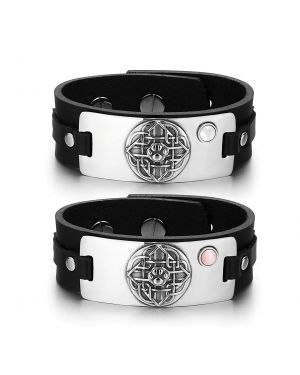 Wolf Paw Celtic Shield Knot Amulet Couples White Pink Simulated Cats Eye Black Leather Bracelets