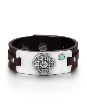 Wolf Paw Celtic Shield Knot Magic Amulet Green Quartz Gemstone Dark Brown Leather Bracelet