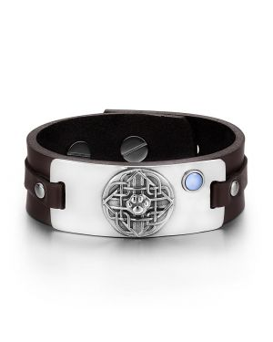 Wolf Paw Celtic Shield Knot Magic Amulet Blue Simulated Cats Eye Adjustable Brown Leather Bracelet