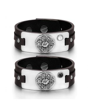 Wolf Paw Celtic Shield Knot Couples White Simulated Cats Eye Simulated Onyx Brown Leather Bracelets