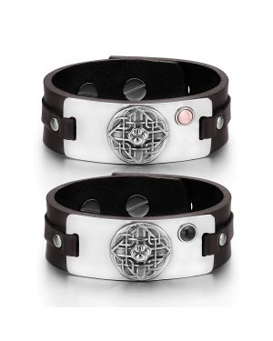 Wolf Paw Celtic Shield Knot Couples Pink Simulated Cats Eye Simulated Onyx Brown Leather Bracelets