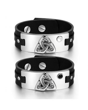 Celtic Triquetra Knot Love Couples White Simulated Cats Eye Simulated Onyx Black Leather Bracelets
