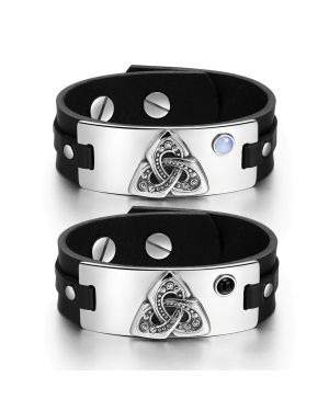 Celtic Triquetra Knot Love Couples Blue Simulated Cats Eye Simulated Onyx Black Leather Bracelets