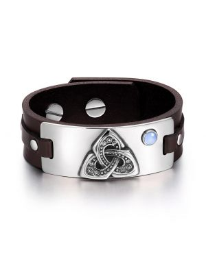 Celtic Triquetra Knot Magic Powers Amulet Blue Simulated Cats Eye Adjustable Brown Leather Bracelet