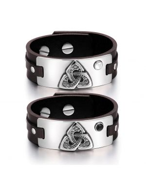 Celtic Triquetra Knot Love Couples White Simulated Cats Eye Simulated Onyx Brown Leather Bracelets
