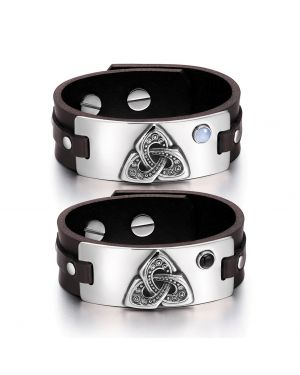 Celtic Triquetra Knot Love Couples Blue Simulated Cats Eye Simulated Onyx Brown Leather Bracelets