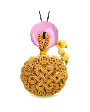 Celtic Shield Knot Lucky Coins Car Charm Home Decor Pink Simulated Cats Eye Donut Protection Amulet