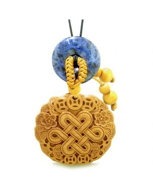 Celtic Shield Knot Lucky Coins Car Charm Home Decor Sodalite Donut Protection Powers Magic Amulet
