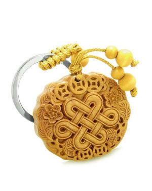 Amulet Celtic Shield Knot Lucky Coins Protection Magic Powers Charm Feng Shui Keychain Blessing
