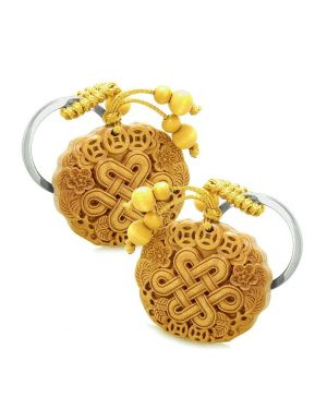 Amulet Celtic Shield Knot Lucky Coins Protect Magic Powers Charm Feng Shui Keychain Set Blessings