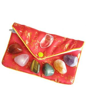 Lucky Chakra Talisman Gemstones In Red Pouch