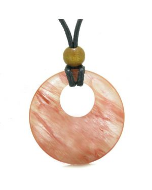 Amulet Large Medallion Circle Coin Donut Protection Magical Powers Simulated Cherry Quartz Charm Necklace