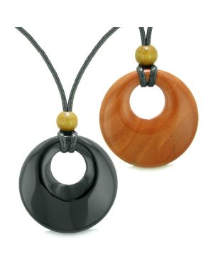 Large Medallion Coin Donuts Love Couples or Best Friends Magic Amulets Set Agate Red Jasper Necklaces