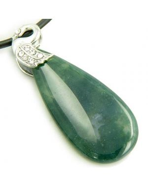 Crystal Tear Drop Swan Green Moss Agate Gem Pendant Necklace