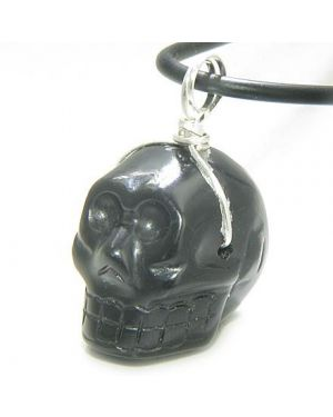 Crystal Skull Gemstone Silver Necklace Pendant In Black Onyx
