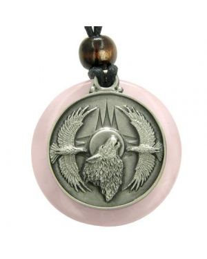 Amulet Howling Wolf Eagles Magic Medallion Circle Rose Quartz Pendant Necklace