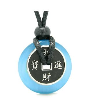 Amulet Lucky Coin Charm Donut Sky Blue Simulated Cats Eye Magic Spiritual Powers Necklace