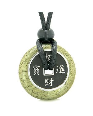 Amulet Lucky Coin Charm Donut Golden Pyrite IrGemstone Magic Spiritual Powers Necklace