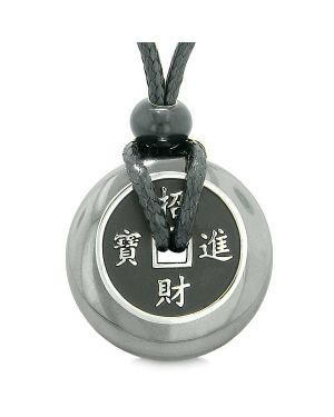 Amulet Lucky Coin Charm Donut Hematite Gemstone Magic Spiritual Powers Adjustable Necklace