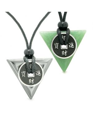 Amulets Lucky Coin Triangle Magic Powers Hematite Green Quartz Love Couples Best Friends Necklaces