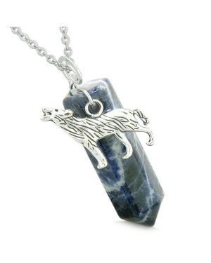 Courage Howling Wolf Protection Energy Amulet Lucky Crystal Point Sodalite Pendant 22 Inch Necklace