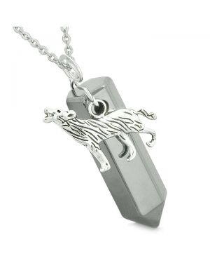 Courage Howling Wolf Protection Energy Amulet Lucky Crystal Point Hematite Pendant 22 Inch Necklace